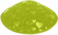 Lime Blind Embossed Hearts Kippah without trim