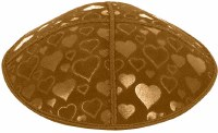 Luggage Blind Embossed Hearts Kippah without trim