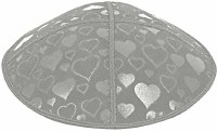 Medium Grey Blind Embossed Hearts Kippah without trim