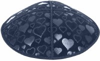 Navy Blind Embossed Hearts Kippah without trim