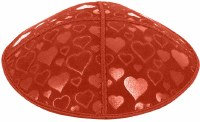 Orange Blind Embossed Hearts Kippah without trim