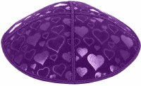 Purple Blind Embossed Hearts Kippah without trim