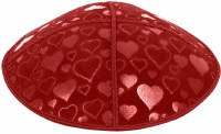 Red Blind Embossed Hearts Kippah without trim
