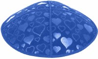 Royal Blind Embossed Hearts Kippah without trim