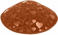 Rust Blind Embossed Hearts Kippah without trim