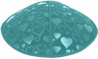 Teal Blind Embossed Hearts Kippah without trim