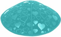 Turquoise Blind Embossed Hearts Kippah without trim