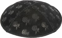 Black Blind Embossed Roses Kippah without trim