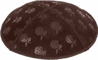 Brown Blind Embossed Roses Kippah without trim