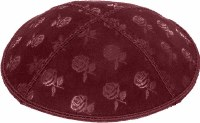 Burgundy Blind Embossed Roses Kippah without trim