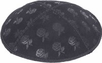 Dark Grey Blind Embossed Roses Kippah without trim