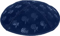 Dark Royal Blind Embossed Roses Kippah without trim