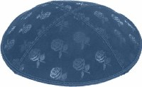 Denim Blind Embossed Roses Kippah without trim