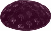 Eggplant Blind Embossed Roses Kippah without trim