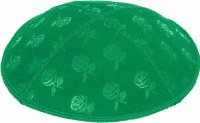 Emerald Blind Embossed Roses Kippah without trim