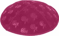 Fuchsia Blind Embossed Roses Kippah without trim