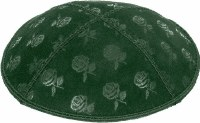 Green Blind Embossed Roses Kippah without trim