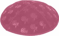 Hot Pink Blind Embossed Roses Kippah without trim