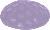 Lavender Blind Embossed Roses Kippah without trim