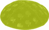 Lime Blind Embossed Roses Kippah without trim