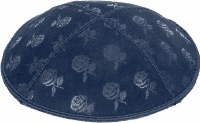 Navy Blind Embossed Roses Kippah without trim