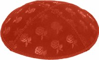 Orange Blind Embossed Roses Kippah without trim