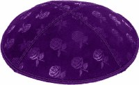 Purple Blind Embossed Roses Kippah without trim