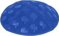 Royal Blind Embossed Roses Kippah without trim