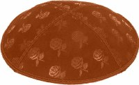 Rust Blind Embossed Roses Kippah without trim