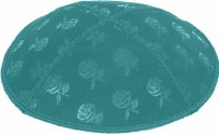 Teal Blind Embossed Roses Kippah without trim