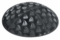 Black Blind Embossed Sailboats Kippah with Navy and Silver Trim
