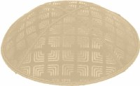 Beige Blind Embossed Kippah without trim