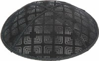 Black Blind Embossed Kippah without trim