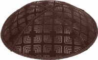 Brown Blind Embossed Kippah without trim
