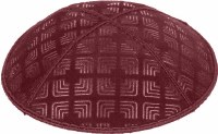 Burgundy Blind Embossed Kippah without trim