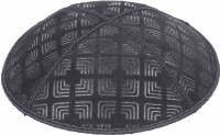 Dark Grey Blind Embossed Kippah without trim