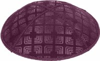 Eggplant Blind Embossed Kippah without trim