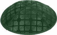 Green Blind Embossed Kippah without trim