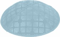 Light Blue Blind Embossed Kippah without trim
