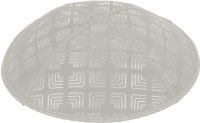 Light Grey Blind Embossed Kippah without trim