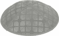 Medium Grey Blind Embossed Kippah without trim