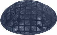 Navy Blind Embossed Kippah without trim