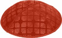 Orange Blind Embossed Kippah without trim