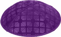 Purple Blind Embossed Kippah without trim
