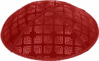 Red Blind Embossed Kippah without trim