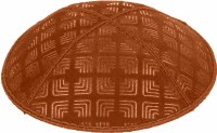 Rust Blind Embossed Kippah without trim
