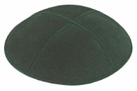 Green Suede Kippah with White and Silver Trim