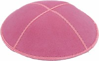 Hot Pink Suede Kippah Medium