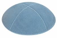 Light Blue Suede Kippah Size Small