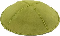 Lime Suede Kippah with Beige and White Trim